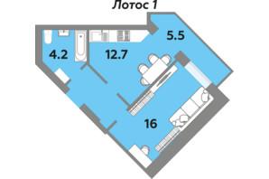 ЖК Яровица: планировка 1-комнатной квартиры 47.4 м²