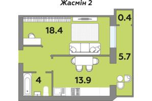 ЖК Яровица: планировка 1-комнатной квартиры 45.9 м²