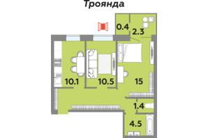 ЖК Яровица: планировка 2-комнатной квартиры 54.9 м²