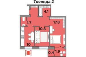 ЖК Яровица: планировка 2-комнатной квартиры 56.4 м²
