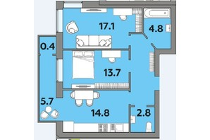 ЖК Яровица: планировка 2-комнатной квартиры 64.2 м²