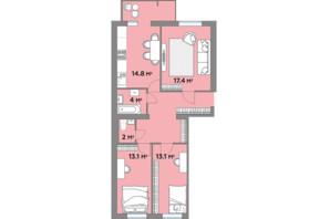 ЖК Яровиця Life: планування 3-кімнатної квартири 84.4 м²