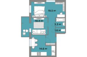 ЖК Яровиця Life: планування 2-кімнатної квартири 62.8 м²