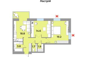 ЖК Яровиця Life: планування 2-кімнатної квартири 70.9 м²