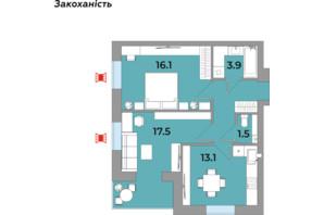 ЖК Яровиця Life: планування 2-кімнатної квартири 57.9 м²