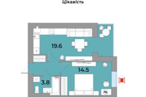 ЖК Яровиця Life: планування 1-кімнатної квартири 41.5 м²