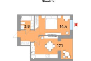ЖК Яровиця Life: планування 1-кімнатної квартири 39.8 м²
