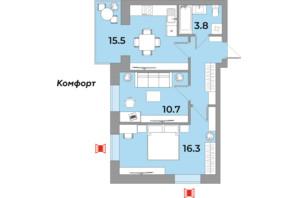 ЖК Яровиця Life: планування 2-кімнатної квартири 52.6 м²