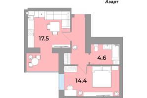 ЖК Яровиця Life: планування 1-кімнатної квартири 43.3 м²