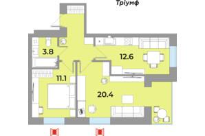 ЖК Яровиця Life: планування 2-кімнатної квартири 54.5 м²