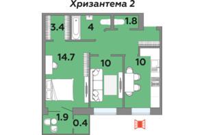 ЖК Яровиця: планування 2-кімнатної квартири 60.2 м²