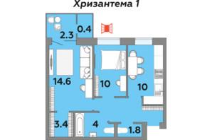 ЖК Яровиця: планування 2-кімнатної квартири 55.9 м²