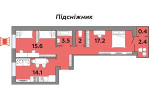 ЖК Яровиця: планування 2-кімнатної квартири 62.1 м²