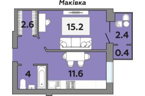 ЖК Яровиця: планування 1-кімнатної квартири 40.8 м²