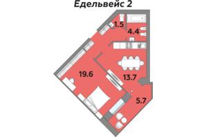 ЖК Яровиця: планування 2-кімнатної квартири 54.6 м²