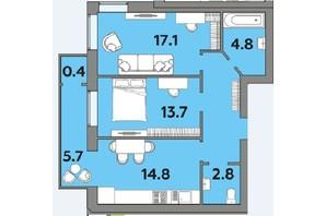 ЖК Яровиця: планування 2-кімнатної квартири 64.2 м²