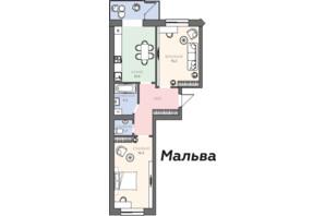 ЖК Яровиця: планування 2-кімнатної квартири 64.4 м²