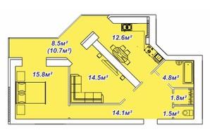 ЖК Яровиця: планування 2-кімнатної квартири 75.7 м²