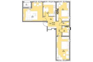 ЖК Яскравий Львів: планировка 2-комнатной квартиры 84.5 м²