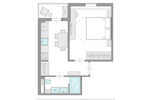 ЖК Ясний: планування 1-кімнатної квартири 31.7 м²