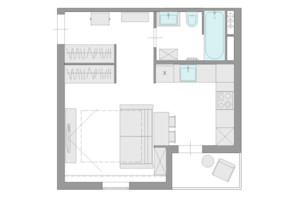 ЖК Ясний: планування 1-кімнатної квартири 29.6 м²