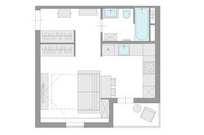 ЖК Ясный: планировка 1-комнатной квартиры 29.7 м²