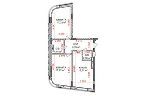 ЖК Идеалист: планировка 2-комнатной квартиры 69.76 м²
