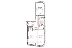 ЖК Идеалист: планировка 2-комнатной квартиры 88.06 м²