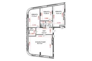 ЖК Идеалист: планировка 3-комнатной квартиры 110 м²
