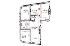 ЖК Идеалист: планировка 3-комнатной квартиры 98.45 м²