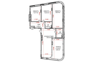 ЖК Идеалист: планировка 3-комнатной квартиры 119.88 м²