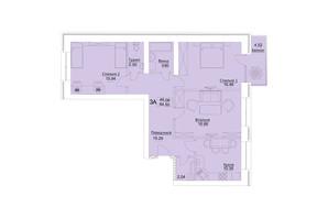 ЖК Єлецький: планування 3-кімнатної квартири 84.5 м²