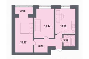 ЖК Європейка: планування 2-кімнатної квартири 58.33 м²