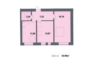ЖК Європейка: планування 2-кімнатної квартири 55.88 м²