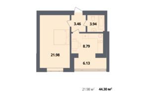 ЖК Європейка: планування 1-кімнатної квартири 44.3 м²