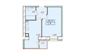 ЖК Європейський Двір: планування 1-кімнатної квартири 34.31 м²