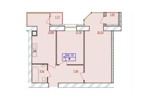 ЖК Європейський Двір: планування 2-кімнатної квартири 58.15 м²