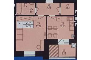 ЖК Європейський: планування 1-кімнатної квартири 41.65 м²