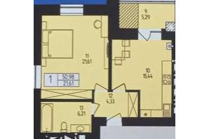 ЖК Європейський: планування 1-кімнатної квартири 50.98 м²