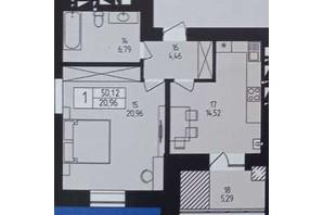 ЖК Європейський: планування 1-кімнатної квартири 50.12 м²