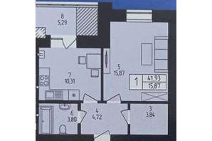 ЖК Європейський: планування 1-кімнатної квартири 41.93 м²