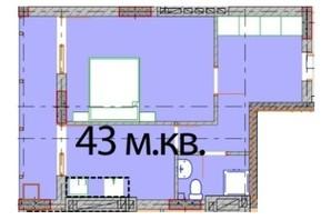 ЖК Європейський Квартал: планування 1-кімнатної квартири 43 м²
