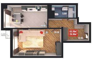 ЖК Європейський квартал: планування 1-кімнатної квартири 63.7 м²