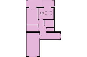 ЖК Итальянский: планировка 2-комнатной квартиры 69.77 м²
