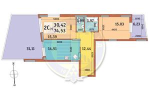 ЖК Итальянский квартал: планировка 2-комнатной квартиры 74.53 м²