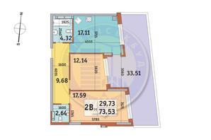 ЖК Итальянский квартал: планировка 2-комнатной квартиры 73.53 м²