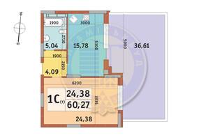 ЖК Итальянский квартал: планировка 1-комнатной квартиры 60.27 м²