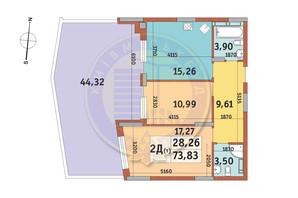 ЖК Итальянский квартал: планировка 2-комнатной квартиры 73.83 м²