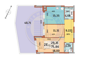 ЖК Итальянский квартал: планировка 2-комнатной квартиры 75.86 м²