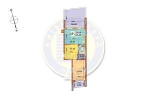 ЖК Итальянский квартал: планировка 1-комнатной квартиры 65.13 м²